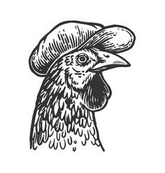 Chicken in flat cap engraving vector