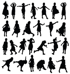 child happy in various pose silhouette vector image