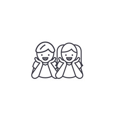 children laughing line icon sign vector image