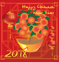 Chinese new year with big mandarin tree vector