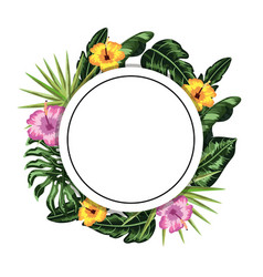 Circle sticker with flowers and leaves decoration vector