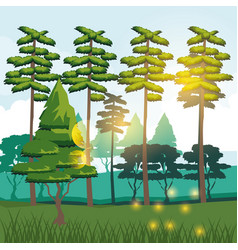 colorful background of forest and mountain vector image