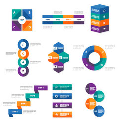 Colorful Infographic elements geometric shape set vector