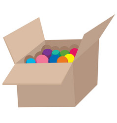 Colourful ball in corrugated box vector