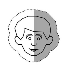 contour face happy man icon vector image
