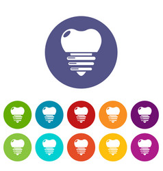 dental implant icons set color vector image