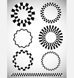 Different checkered chequered elements art brush vector
