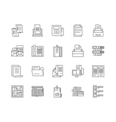 Directory line icons signs set outline vector