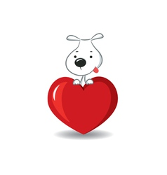 Dog on the heart vector