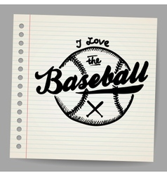 Doodle baseball design element vector image vector image