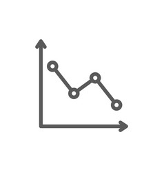Down graph analyzing chart patterns line icon vector