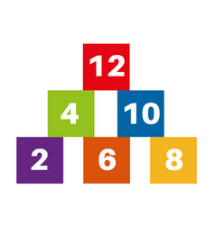 even number blocks on a white background vector image