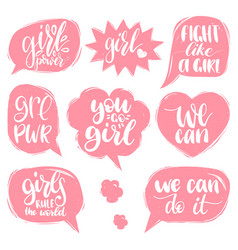 Fight like a girl we can etc hand lettering vector