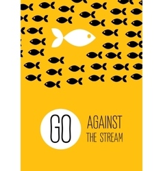 Fish swims against stream creative yellow vector