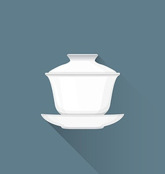 Flat Chinese tea gaiwan icon vector