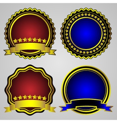 Four gold-framed labels set vector
