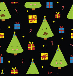 fun christmas trees with faces on black background vector image