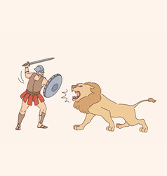 Gladiator with lion fight concept vector