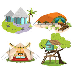 glamping houses colorful set vector image