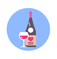 glass and bottle wine with heart shape icon on vector image
