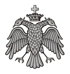 Grayscale sketch byzantine two headed eagle vector