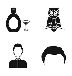 Hairdresser alcohol and or web icon in black vector