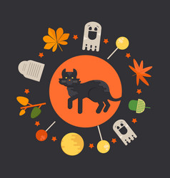 halloween cat concept in circle shape vector image