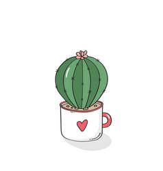 hand drawn cactus in garden pottery vector image