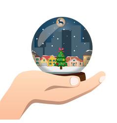 Hand holds a glass ball vector