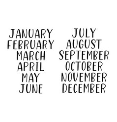 hand lettered months year set january vector image