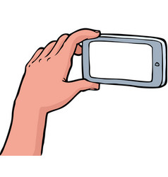 hand photographs on a smartphone vector image