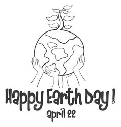 Happy earth day with world collection vector