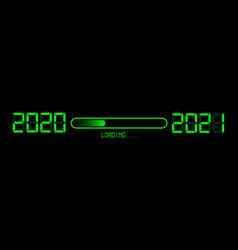 Happy new year 2020 with loading to up 2021 neon vector