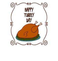 Happy turkey day with a turkey vector