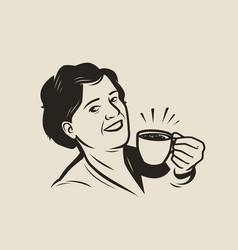 happy young woman holding a cup fresh coffee vector image