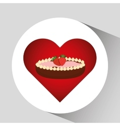 Heart cartoon sweet pie strawberry and chocolate vector