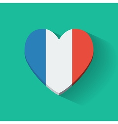 Heart-shaped icon with flag france vector