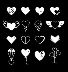 heart silhouette shape contour vector image