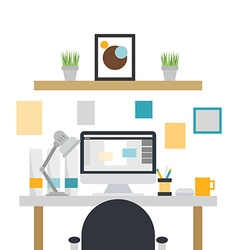 Home office interior vector