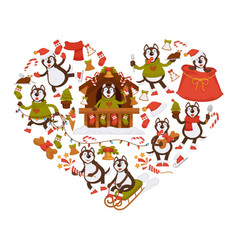 Husky dog and christmas attributes in heart shape vector