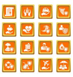 Insurance icons set orange square vector