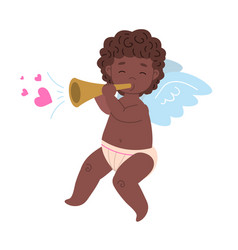 isolated black african cupid playing love music vector image