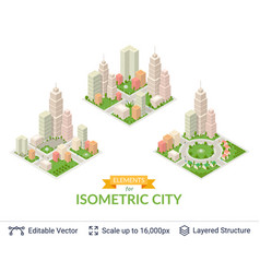 Isometric city popular structures vector