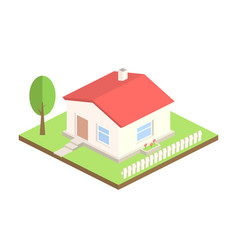 Isometric house on white background 3d cottage vector