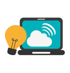 laptop with cloud computing and bulb light idea vector image