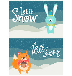 let it snow hello winter set of bright postcards vector image