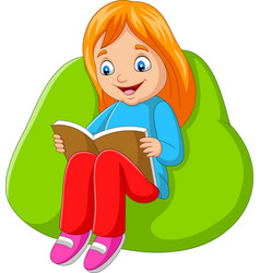 little girl reading a book sitting on big pillow vector image