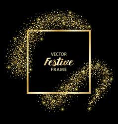 Luxury and golden glitter square festive frame vector
