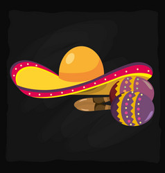 mariachi hat and maracas vector image