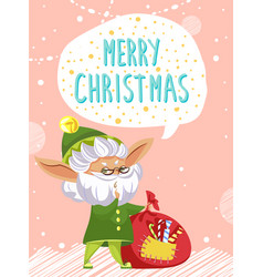 merry christmas elf greet people with holiday vector image
